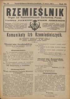 Rzemieślnik : organ izb rzemieślniczych Zachodniej Polski : tygodnik poświęcony sprawom rzemieślniczym 1928.03.25 R. IX nr 13