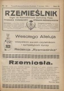 Rzemieślnik : organ izb rzemieślniczych Zachodniej Polski : tygodnik poświęcony sprawom rzemieślniczym 1928.04.08 R. IX nr 15