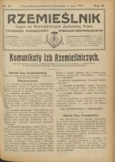 Rzemieślnik : organ izb rzemieślniczych Zachodniej Polski : tygodnik poświęcony sprawom rzemieślniczym 1928.05.06 R. IX nr 19