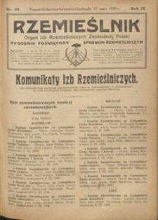 Rzemieślnik : organ izb rzemieślniczych Zachodniej Polski : tygodnik poświęcony sprawom rzemieślniczym 1928.05.27 R. IX nr 22