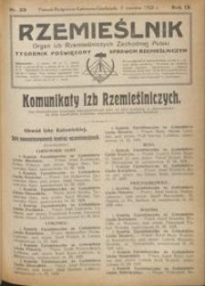 Rzemieślnik : organ izb rzemieślniczych Zachodniej Polski : tygodnik poświęcony sprawom rzemieślniczym 1928.06.03 R. IX nr 23