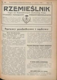 Rzemieślnik : organ izb rzemieślniczych Zachodniej Polski : tygodnik poświęcony sprawom rzemieślniczym 1928.06.17 R. IX nr 25