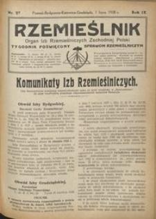 Rzemieślnik : organ izb rzemieślniczych Zachodniej Polski : tygodnik poświęcony sprawom rzemieślniczym 1928.07.01 R. IX nr 27