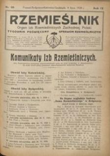 Rzemieślnik : organ izb rzemieślniczych Zachodniej Polski : tygodnik poświęcony sprawom rzemieślniczym 1928.07.08 R. IX nr 28