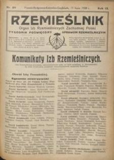 Rzemieślnik : organ izb rzemieślniczych Zachodniej Polski : tygodnik poświęcony sprawom rzemieślniczym 1928.07.15 R. IX nr 29