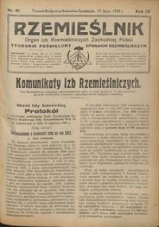 Rzemieślnik : organ izb rzemieślniczych Zachodniej Polski : tygodnik poświęcony sprawom rzemieślniczym 1928.07.29 R. IX nr 31