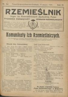 Rzemieślnik : organ izb rzemieślniczych Zachodniej Polski : tygodnik poświęcony sprawom rzemieślniczym 1928.08.19 R. IX nr 34