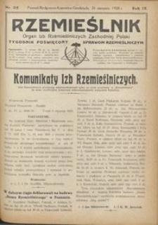 Rzemieślnik : organ izb rzemieślniczych Zachodniej Polski : tygodnik poświęcony sprawom rzemieślniczym 1928.08.26 R. IX nr 35