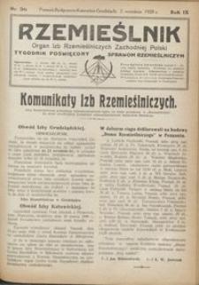 Rzemieślnik : organ izb rzemieślniczych Zachodniej Polski : tygodnik poświęcony sprawom rzemieślniczym 1928.09.02 R. IX nr 36
