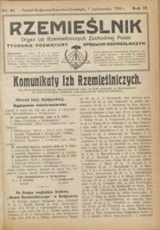 Rzemieślnik : organ izb rzemieślniczych Zachodniej Polski : tygodnik poświęcony sprawom rzemieślniczym 1928.10.07 R. IX nr 41
