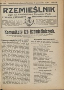 Rzemieślnik : organ izb rzemieślniczych Zachodniej Polski : tygodnik poświęcony sprawom rzemieślniczym 1928.10.21 R. IX nr 43