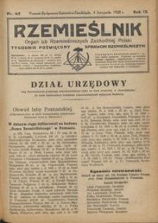 Rzemieślnik : organ izb rzemieślniczych Zachodniej Polski : tygodnik poświęcony sprawom rzemieślniczym 1928.11.04 R. IX nr 45