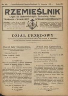 Rzemieślnik : organ izb rzemieślniczych Zachodniej Polski : tygodnik poświęcony sprawom rzemieślniczym 1928.11.24 R. IX nr 48