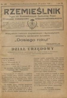 Rzemieślnik : organ izb rzemieślniczych Zachodniej Polski : tygodnik poświęcony sprawom rzemieślniczym 1928.12.29 R. IX nr 53
