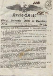 Kreis Blatt des Königlichen Landraths-Amts zu Graudenz 1855.01.19 nr 3