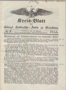 Kreis Blatt des Königlichen Landraths-Amts zu Graudenz 1855.02.16 nr 7