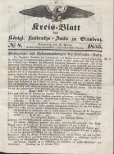 Kreis Blatt des Königlichen Landraths-Amts zu Graudenz 1855.02.23 nr 8