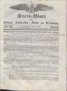 Kreis Blatt des Königlichen Landraths-Amts zu Graudenz 1855.03.23 nr 12