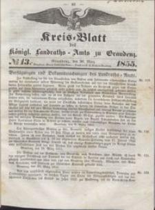 Kreis Blatt des Königlichen Landraths-Amts zu Graudenz 1855.03.30 nr 13