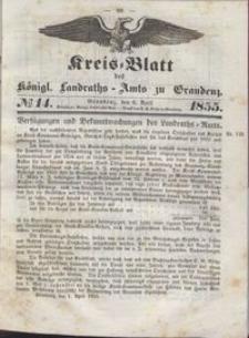 Kreis Blatt des Königlichen Landraths-Amts zu Graudenz 1855.04.06 nr 14