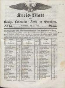Kreis Blatt des Königlichen Landraths-Amts zu Graudenz 1855.04.13 nr 15