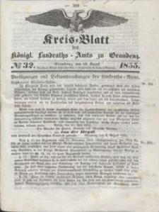 Kreis Blatt des Königlichen Landraths-Amts zu Graudenz 1855.08.10 nr 32