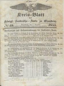 Kreis Blatt des Königlichen Landraths-Amts zu Graudenz 1855.12.07 nr 49