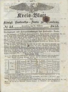 Kreis Blatt des Königlichen Landraths-Amts zu Graudenz 1855.12.21 nr 51