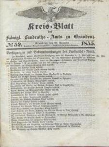 Kreis Blatt des Königlichen Landraths-Amts zu Graudenz 1855.12.28 nr 52