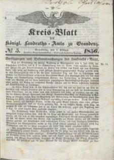 Kreis Blatt des Königlichen Landraths-Amts zu Graudenz 1856.02.01 nr 5