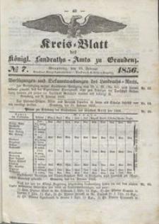 Kreis Blatt des Königlichen Landraths-Amts zu Graudenz 1856.02.15 nr 7