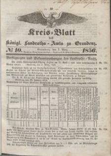 Kreis Blatt des Königlichen Landraths-Amts zu Graudenz 1856.03.07 nr 10