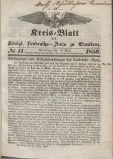 Kreis Blatt des Königlichen Landraths-Amts zu Graudenz 1856.03.14 nr 11