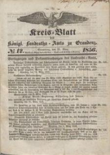 Kreis Blatt des Königlichen Landraths-Amts zu Graudenz 1856.03.21 nr 12
