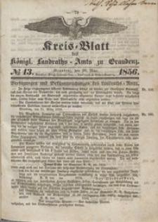 Kreis Blatt des Königlichen Landraths-Amts zu Graudenz 1856.03.28 nr 13