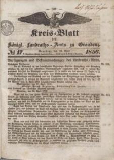 Kreis Blatt des Königlichen Landraths-Amts zu Graudenz 1856.04.25 nr 17