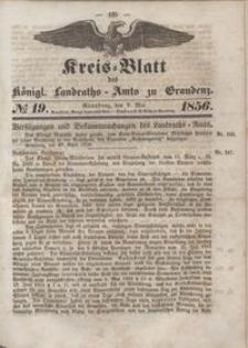 Kreis Blatt des Königlichen Landraths-Amts zu Graudenz 1856.05.09 nr 19