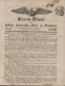 Kreis Blatt des Königlichen Landraths-Amts zu Graudenz 1863. 01.02 nr 1