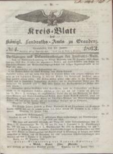 Kreis Blatt des Königlichen Landraths-Amts zu Graudenz 1863.01.23 nr 4