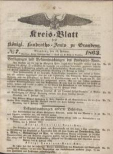 Kreis Blatt des Königlichen Landraths-Amts zu Graudenz 1863.02.13 nr 7