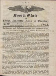 Kreis Blatt des Königlichen Landraths-Amts zu Graudenz 1863.03.20 nr 12