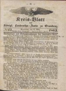 Kreis Blatt des Königlichen Landraths-Amts zu Graudenz 1863.03.27 nr 13