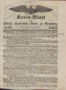 Kreis Blatt des Königlichen Landraths-Amts zu Graudenz 1863.04.03 nr 14