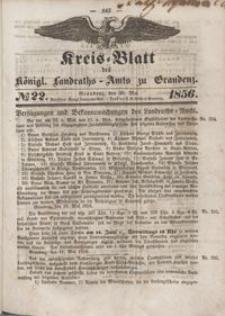Kreis Blatt des Königlichen Landraths-Amts zu Graudenz 1856.05.30 nr 22