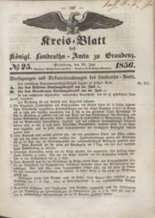 Kreis Blatt des Königlichen Landraths-Amts zu Graudenz 1856.06.20 nr 25