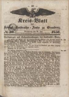 Kreis Blatt des Königlichen Landraths-Amts zu Graudenz 1856.07.25 nr 30