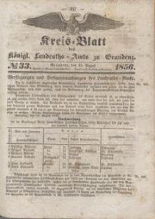 Kreis Blatt des Königlichen Landraths-Amts zu Graudenz 1856.08.15 nr 33
