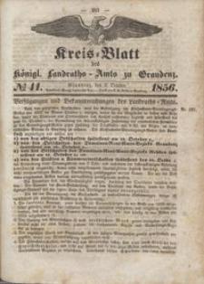 Kreis Blatt des Königlichen Landraths-Amts zu Graudenz 1856.10.03 nr 41