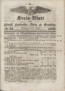 Kreis Blatt des Königlichen Landraths-Amts zu Graudenz 1856.10.17 nr 43