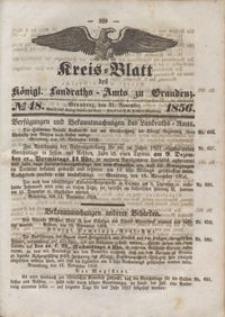 Kreis Blatt des Königlichen Landraths-Amts zu Graudenz 1856.11.21 nr 48